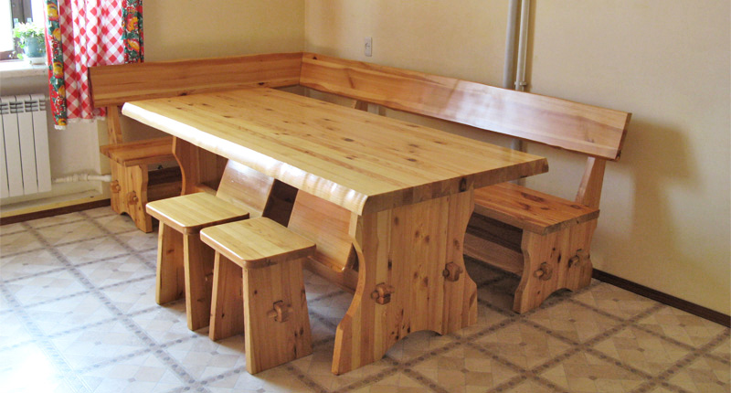 Обеденный стол и лавочка своими руками 831