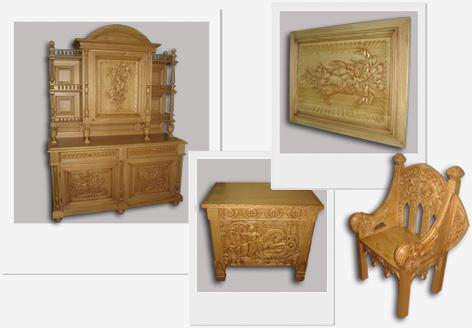 Художественно оформленная - резная мебель из сосны