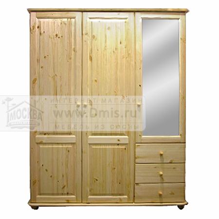 Шкаф «ШМЦ-103» трехдверный с ящиками и зеркалом