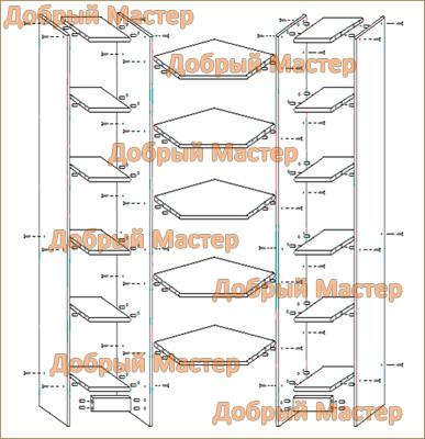 Схема сборки стеллажа Угловой (Су-1) .