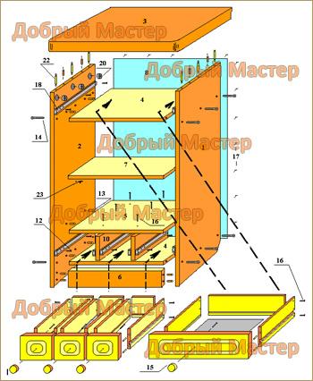 Схема сборки тумбы прихожей 3
